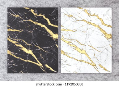 3D rendering of black and white marble with golden foil for wedding and greeting invitation card or your project interior design decorative tile, High quality seamless realistic texture background.