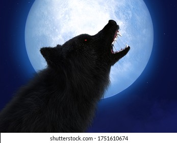 3D rendering of a black wolf or werewolf with glowing red eyes howling at the big moon. Stars in the night sky.