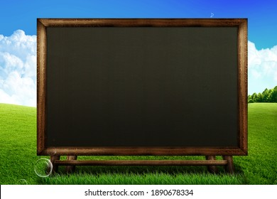 3d rendering blackboard on landscape and sky background, copy space for text