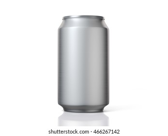 3D Rendering of Blank Aluminium Beer or Soft Drink Can Front View On White Background. Includes clipping path.
