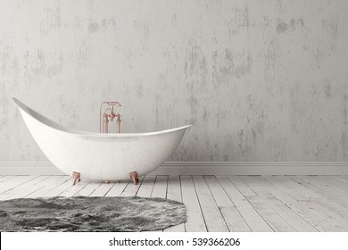 3D rendering of blank bathroom with deep-piled carpet on the wooden floor in front of bright rough wall.