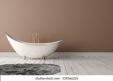 3D rendering of blank bathroom with deep-piled carpet on the wooden floor in front of painted wall.