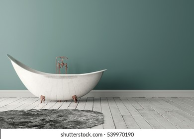3D rendering of blank bathroom with deep-piled carpet on the wooden floor in front of painted wall