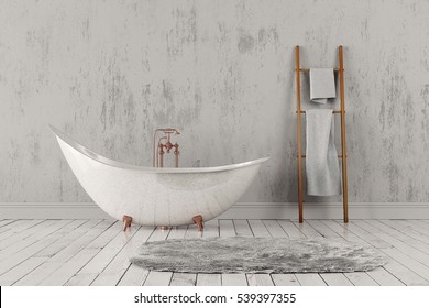 3D rendering of blank bathroom with towels and deep-piled carpet on the wooden floor in front of bright rough wall.