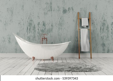 3D rendering of blank bathroom with wooden towel rail, towels and deep-piled carpet on the wooden floor in front of bright rough wall.