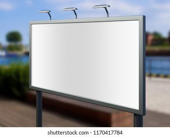 3D rendering of blank billboard (empty advertisement) with boulevard background. Empty mockup template