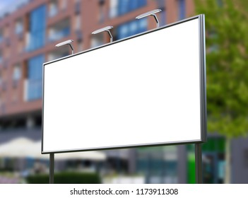 3D rendering of blank billboard (empty advertisement) with city background. Empty mockup template