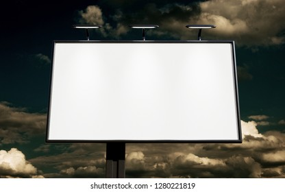 3D rendering of blank billboard (empty advertisement) with clouds. Empty mockup template. 3D and photo montage.