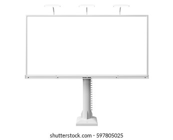 3D rendering of blank billboard (empty advertisement) isolated on white background - mock up template
