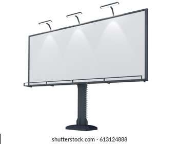 3D rendering of blank billboard (empty advertisement) isolated on white background
