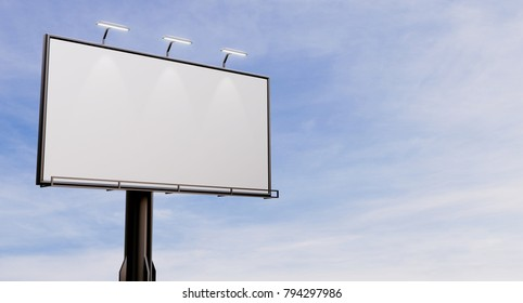 3D rendering of blank billboard (empty advertisement) with clouds. Empty mockup template