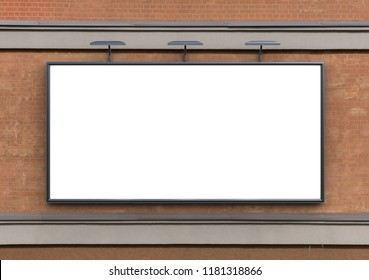3D rendering of blank billboard light box (empty advertisement) on brick wall. Empty mockup template