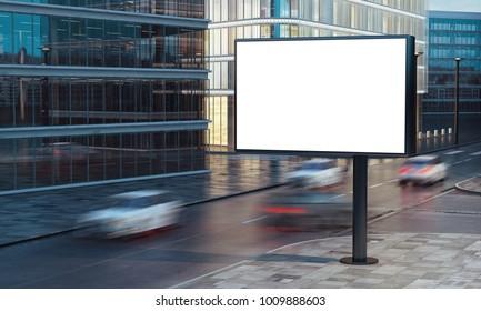 3d rendering of blank billboard on the street