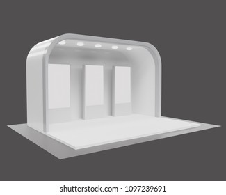 3d rendering. Blank creative exhibition stand design,booth template design in gray tone.