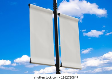 3D rendering of blank flag banner (empty advertisement) with clouds. Empty mockup template