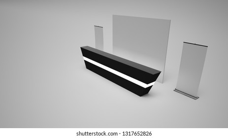 3d rendering blank mockup reception with clean background and light