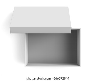 3d rendering blank open paper box with leaning lid for design use, isolated white background, top view