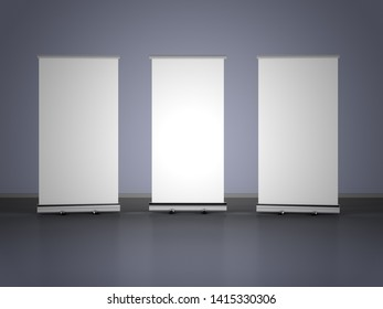 3D rendering of blank vertical rollup (empty billboard advertisement) on gray background. Empty mockup template