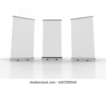 3D rendering of blank vertical rollup (empty billboard advertisement) isolated on white background. Empty mockup template