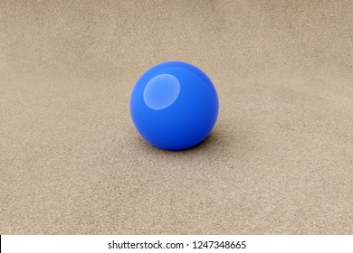 3d rendering of blue ball on sand