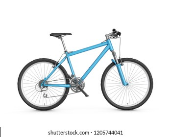 3D Rendering blue bicycle isolated on white background