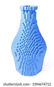 3d Rendering of blue bottle - rasterized