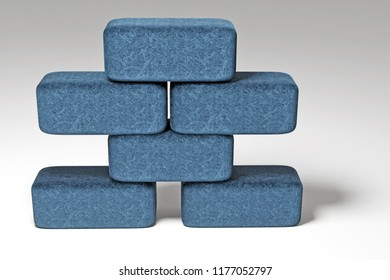 3d rendering of blue brick stone staple isolated on white background