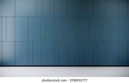 3d rendering blue color stone tile wall and marble floor for background or interior design and decoration idea.
