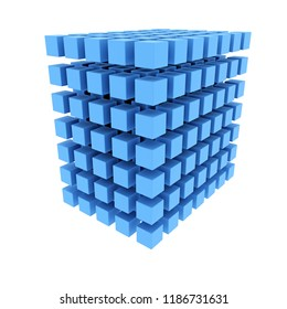 3D rendering of blue cube made of many little cubes, isolated