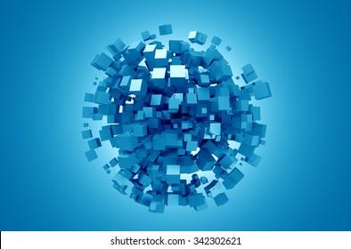 3D rendering of blue cubes. Sci-fi background. Abstract sphere in empty space. Futuristic shape.