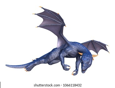 3D rendering of a blue fairy tale dragon isolated on white background