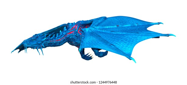 3D rendering of a blue fantasy dragon isolated on white background