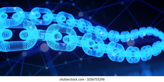 3D Rendering Of Blue Glowing Chains On Plexus Connections Backround Blockchain Cryptography Concept
