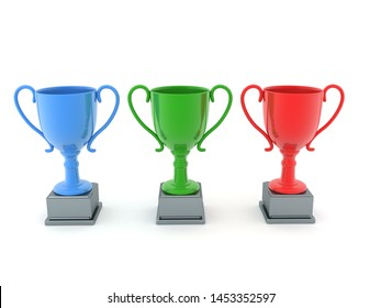 3D Rendering of blue green and red trophies. 3D Rendering isolated on white.