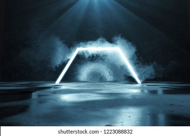3d rendering of blue lighten half hexagon shape in front of grunge wall background and floor with puddles