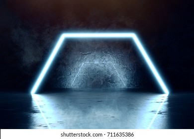 3d rendering of blue lighten hexagon and grunge wall background