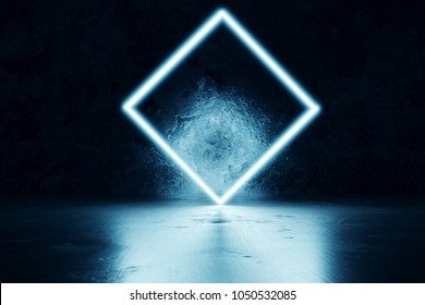 3d rendering of blue lighten square shape in front of grunge wall background