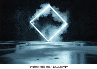 3d rendering of blue lighten square shape in front of grunge wall background and floor with puddles