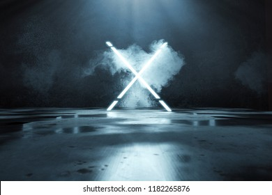 3d rendering of blue lighten X alphabet shape in front of grunge wall background and floor with puddles