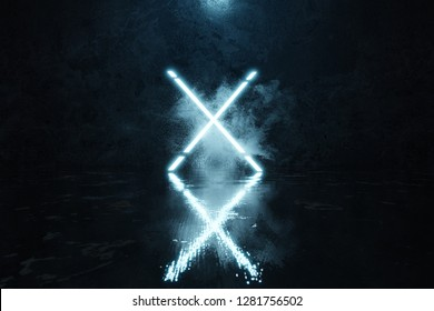 3d rendering of blue lighten X shape with light spot in front of grunge wall background with wet glossy floor