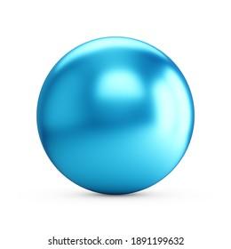 3d rendering Blue Metallic Sphere on white background