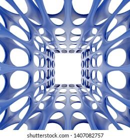 3d Rendering of blue perforated corridor