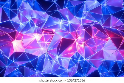 3d rendering, blue pink neon crystallized background, polygonal mesh, ultraviolet light, faceted metallic texture with reflections, crumpled shiny wallpaper