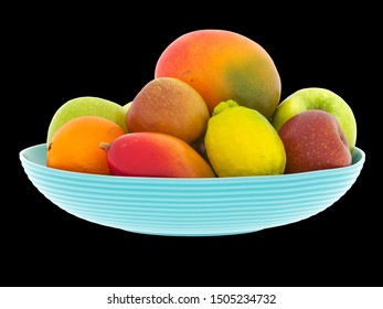 3d rendering blue plate with orange, apple, lemon and mango Inside isolated