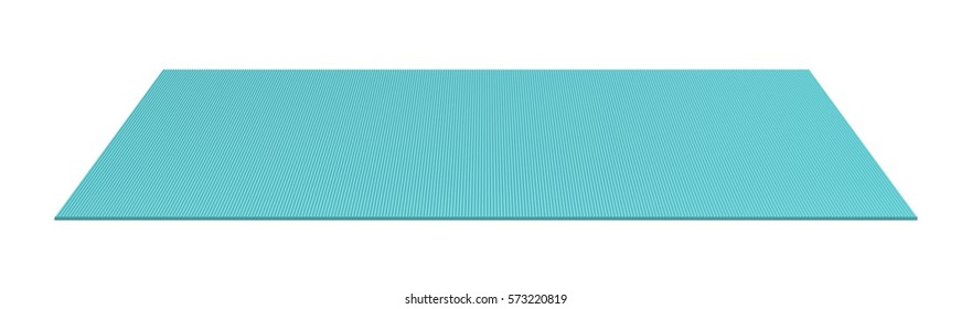 3d rendering of a blue rolled out yoga mat on white background. Fitness and health. Exercise equipment. Stretching routines.