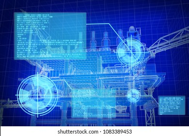 3D rendering , Blue screen Oil rig construction plant with digital window detail data