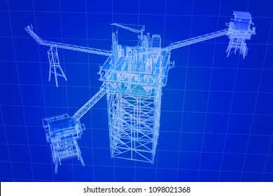 3D rendering , Blue screen Oil rig constructtion plant.