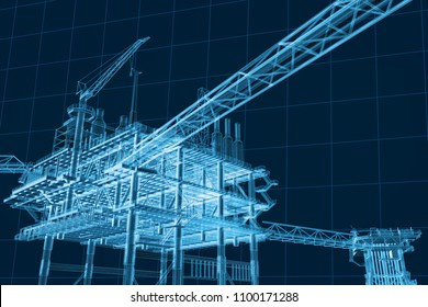 3D rendering , Blue screen Oil rig construction plant.