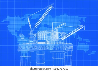 3D rendering , Blue screen Oil rig construction plant with background world map on grid line.