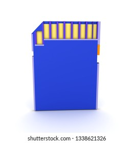 3D Rendering of a blue SD Card. 3D Rendering isolated on white.